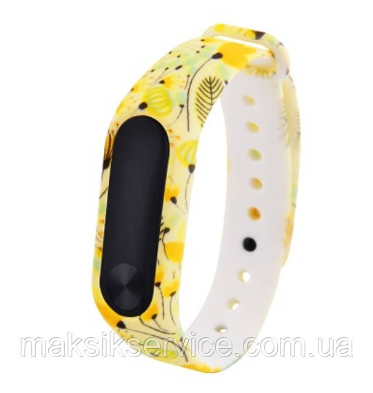 Ремешок Silicone with Print for Mi Band 3 yellow flowers