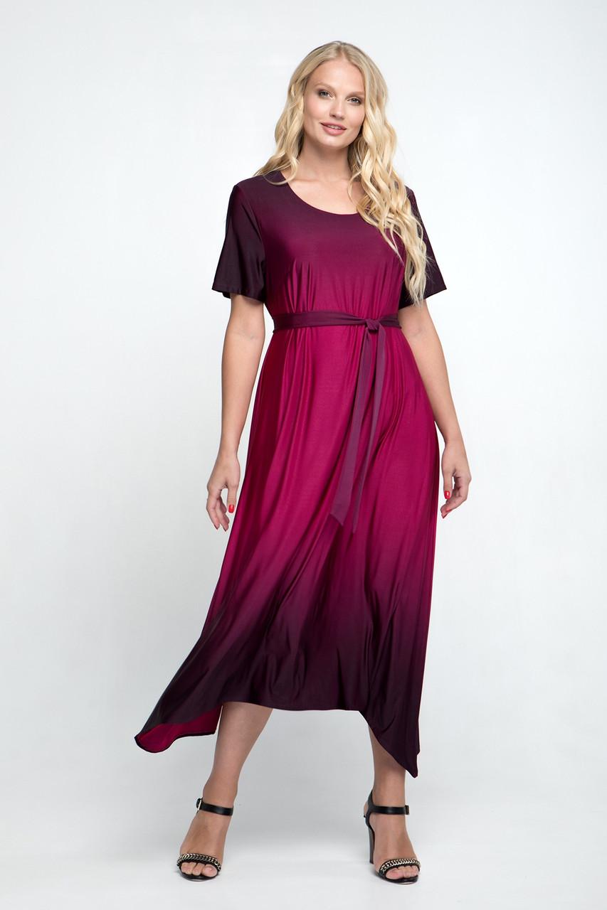 Летнее женское длинное платье с асимметричным подолом, 52-62