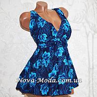 Большие размеры 56, 58. Модный синий купальник (платье) танкини, трусы слипы, мягкая чашка