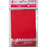Набір червоних заготовок для листівок, 10см*15см, 230г/м2, 5шт. , Santi