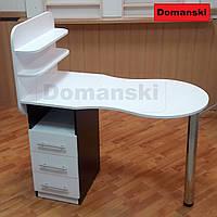 Маникюрный стол с ящиками и полкой для лаков, столешница складывается. Фигурная столешница.