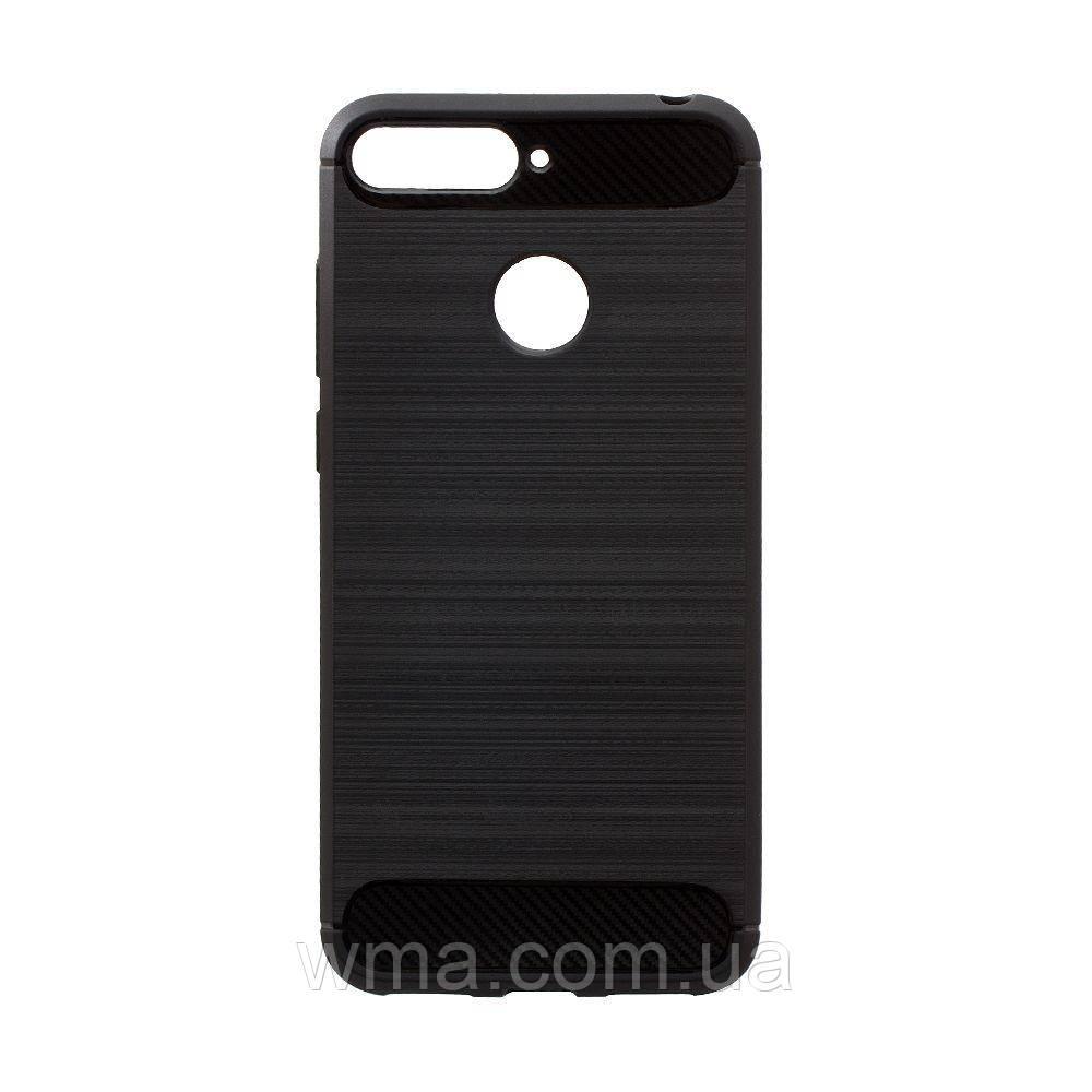 Чехол для телефонов (Смартвонов) Силикон Polished Carbon Huawei Y6 2018 Цвет Чёрный