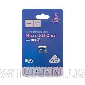 Карта Памяти Hoco MicroSD 4gb 6 Class Цвет Синий