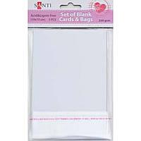 Набір білих текстурованих заготовок для листівок, 10см*15см, 250г/м2, 5шт., Santi