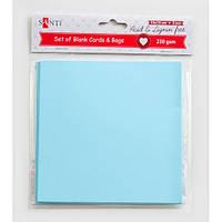 Набір блакитних заготовок для листівок, 15см*15см, 230г/м2, 5шт. .Santi