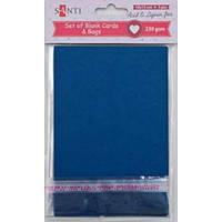 Набір темно-синіх заготовок для листівок, 10см*20см, 230г/м2, 5шт.. .Santi