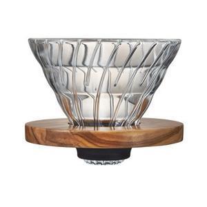 Пуровер Hario V60 02 Оливковое дерево, стеклянный  для заваривания кофе на 1-4  порции