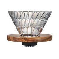 Пуровер Hario V60 02 Оливковое дерево, стеклянный  для заваривания кофе на 1-4  порции, фото 1