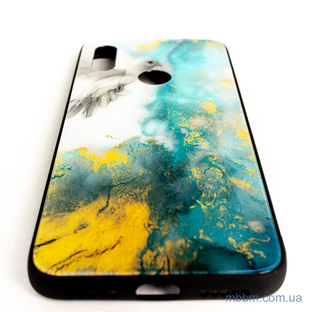 TPU + Glass Luxury Marble Xiaomi Redmi Note 7 голубь