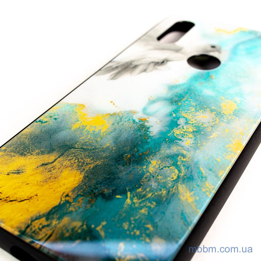 Накладка TPU + Glass Luxury Marble Xiaomi Redmi Note 7 голубь