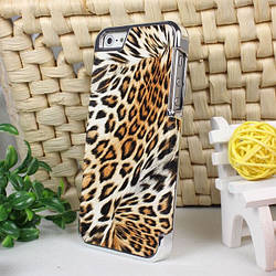 Чехол кожаный для Iphone 5/5S/5SE  леопард