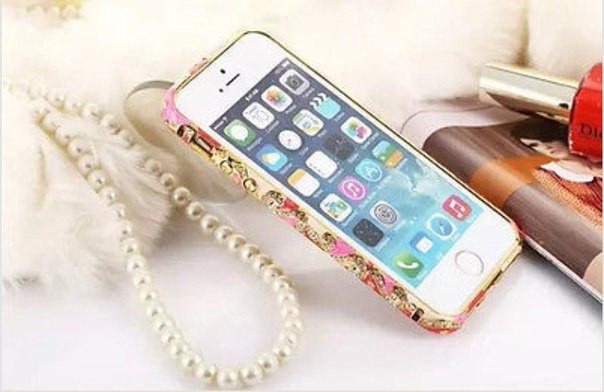 Бампер с камнями Swarovski для Iphone 5/5S/5SE