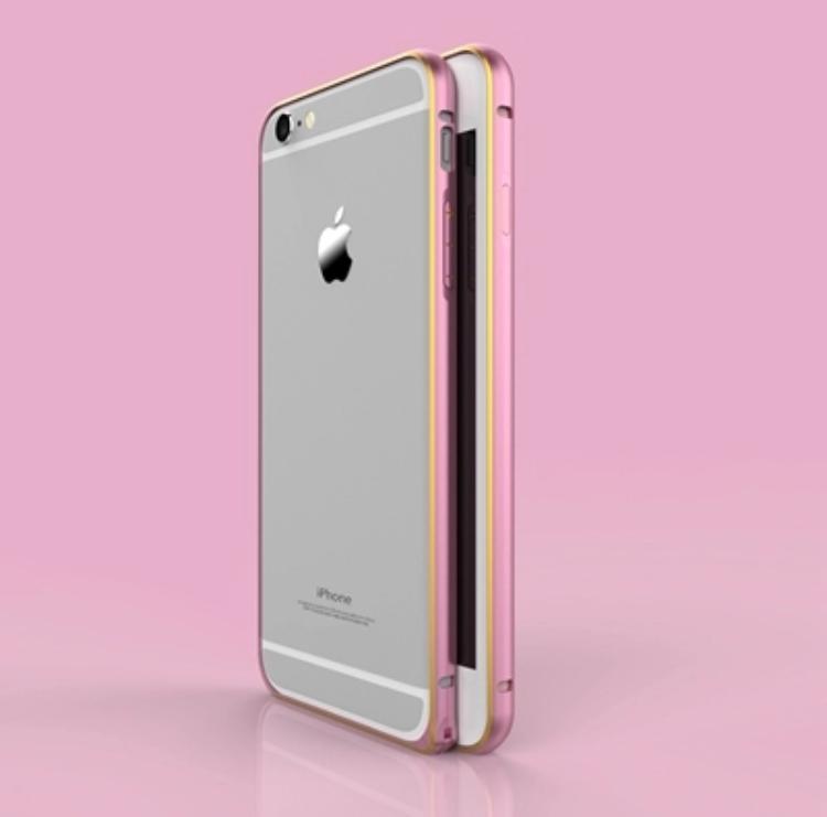 Бампер для Iphone  6, 6S Металлический розовый