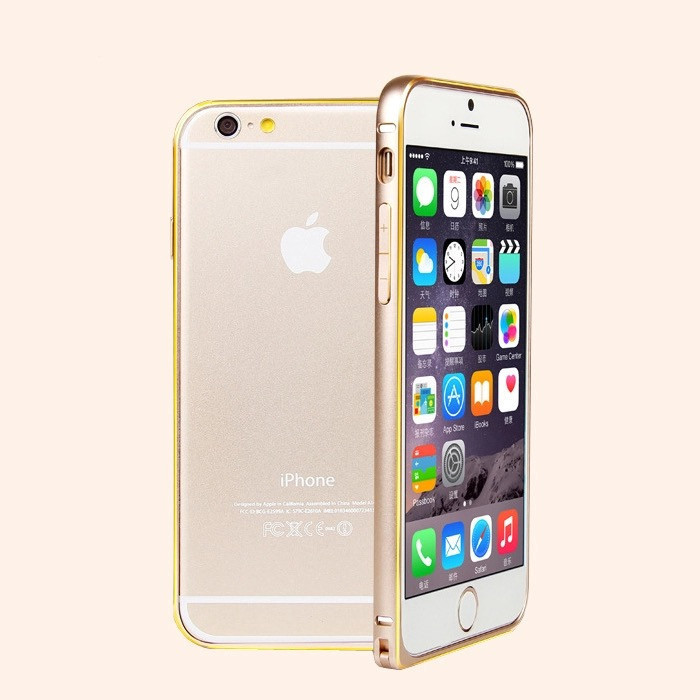 Бампер накладка для Iphone  6, 6S Алюминиевый ультратонкий защитный золотой