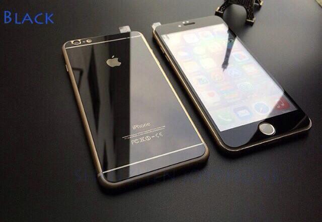 Зеркальные стекла для Iphone 6/6s  на переднюю и заднюю панель, black
