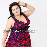 Большой купальник 56 размер. Сине-красный купальник-платье, танкини для пышных форм, на завязках, мягкая чашка