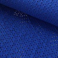 Батист ярко-синий, вышитый, ширина 135 см, фото 1