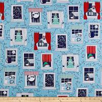 """Американский Хлопок Ткань для Пэчворка и Рукоделия """"Новогодние Окна"""" 52*55 см"""