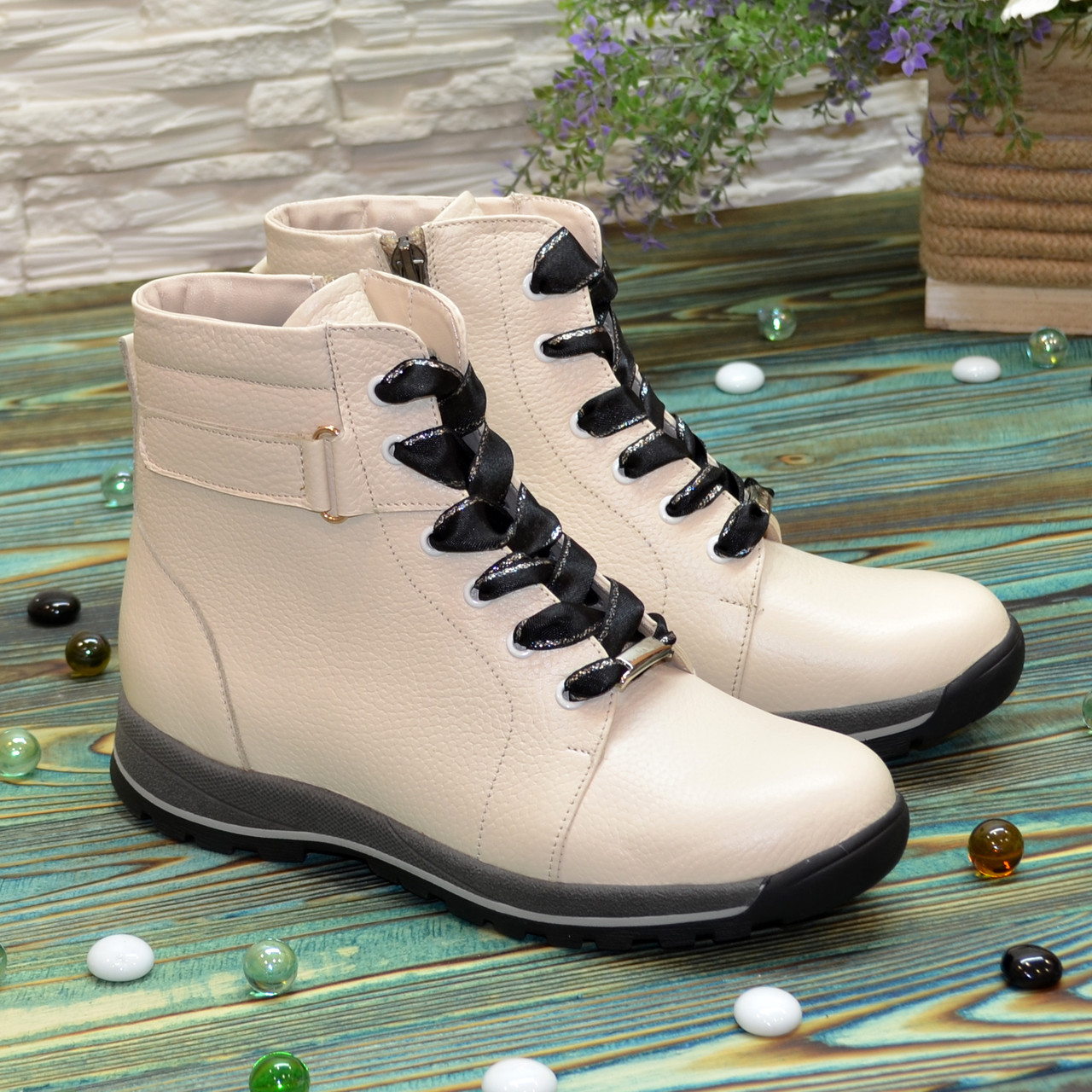 Ботинки кожаные подростковые на утолщённой подошве, цвет бежевый