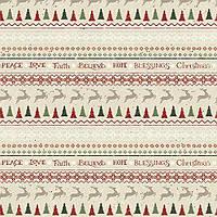 """Ткань для пэчворка и рукоделия американский хлопок """"Бордюр с оленями беж"""" - 28*96 см (1 полоса)"""