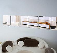 Акриловое зеркало квадратное 20×20 см на скотче 1 шт серебро
