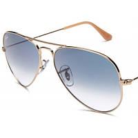Очки Ray Ban 3025 Aviator Gradient Gold стекло комплект, копия солнцезащитные, фото 1