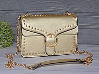 Красивая сумочка с заклепками золотистая, фото 1