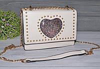 Женская бежевая сумочка небольшого размера, фото 1