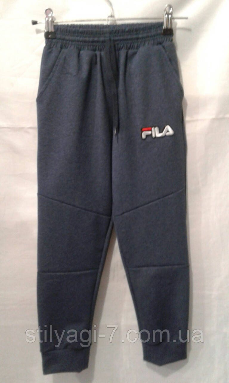 Спортивні штани для хлопчика на 6-10 років сірого, синього, чорного, кольору хакі з написом Філа оптом