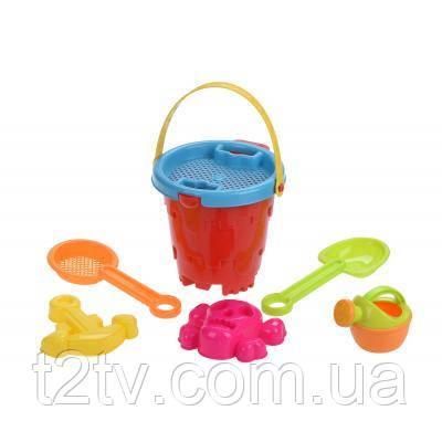 Игрушка для песка Same Toy 6 ед.Ведерко красное (909Ut-1)