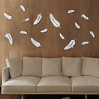 Декоративные зеркальные наклейки на стены «Перышки» 8 шт. Интерьерные акриловые декор-наклейки, ХРОМ.