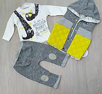 """Детский костюм тройка для мальчика с жилеткой """"Meilleur"""" от 6 мес до 18 мес цвет желтый"""
