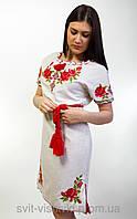 Платья вишиванка женское  Зоряна лен  246-ж