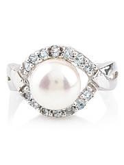 Кільце срібне з перлами і топазом R-344 (р. 17.5)
