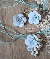 """Комплект украшений с цветами из полимерной глины """"Воздушный"""" серьги+кулон, фото 1"""