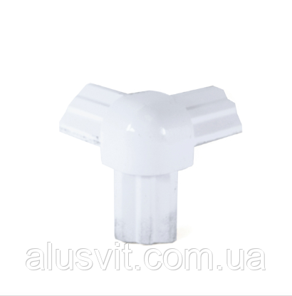 Стык тройной белый для торгового алюминиевого профиля, фото 2