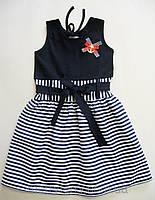 Платье ситцевое на девочку Морячка (1-4 года)
