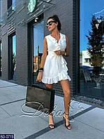 Женское однотонное легкое летнее мини платье на запах с рюшами и коротким рукавом (софт) много цветов