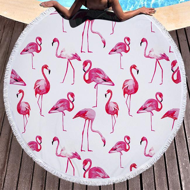 """Пляжный коврик """"Фламинго"""" 150 см (плотный)"""