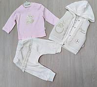 """Детский костюм тройка для девочки с жилеткой """"Рюш""""  от 2 до 4 лет, белый"""