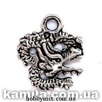 "Метал. подвеска ""дракон"" серебро (1,8х2,1 см) 12 шт в уп."