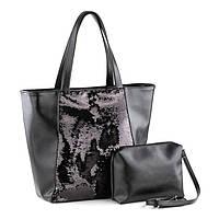Модная сумка шоппер в расцветках черный черный титан/пайетки