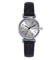 Часы женские черные ASS /кварцевые/цвет ремешка черный циферблат серебро
