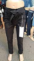 Брюки для девочки 7-12 лет черного, синего цвета с поясом оптом, фото 1