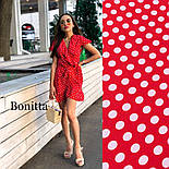 Женский сарафан платье на запах с рюшами в горошек (в расцветках), фото 5