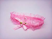 Повязочка Сорока детская розовая с бантиком 0379