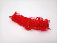 Повязочка Сорока детская красная с цветочком 0379