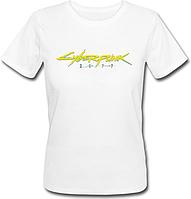 Женская футболка Cyberpunk 2077 Yellow Logo (белая)