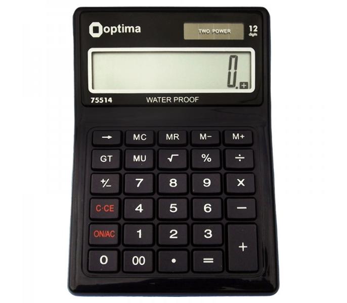 Калькулятор настольный Optima, 12 разрядов, водонепроницаемый