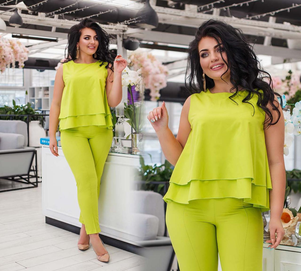 """Жіночий стильний брючний костюм у великих розмірах """"Бенгалин Туніка Разлетайка"""" в кольорах (DG-ак 0392)"""